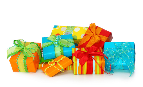 Gifts wrapped with different color paper and ribbons