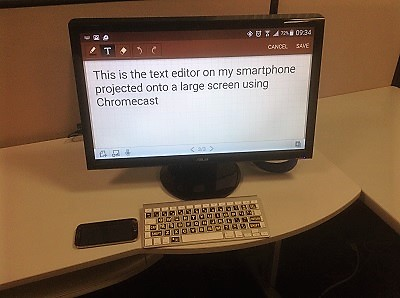 text on monitor from smartphone