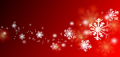 Snowflakes of different sizes on a red background