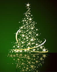 Christmas Tree made of stars on a green background
