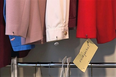 clothing labeled and organized