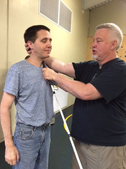 Stan showing student self defense move