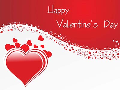 Red and white Valentine's Day card with red hearts