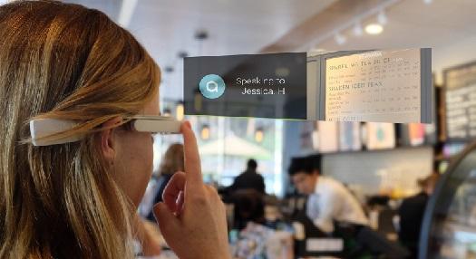 aira user looking at overhead restaurant menu using glasses