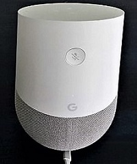 Google home device round cylindrical object 5.5 inches tall by 3.3 inches wide