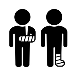 Two black stick figures of men: one with a broken arm and the other with a broken leg