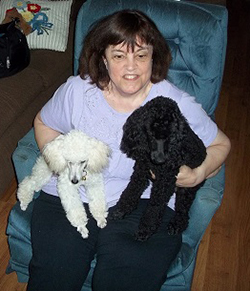 woman sitting in chair holding 2 dogs