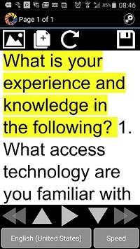 KNFB Reader screen