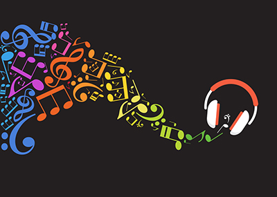 Colorful music notes flowing out of a pair of headphones on a black background