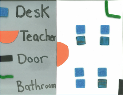 A tactile map of a classroom created by a student, labeling the teacher, desks, bathroom, and the door