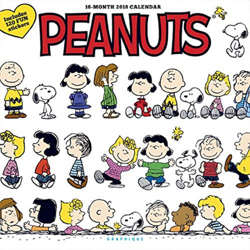 A 2018 wall calendar cover titled Happiness Is featuring various characters from Peanuts