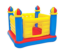 A yellow, red, and blue inflatable castle bounce house