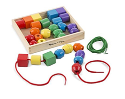 Lacing beads in multiple colors