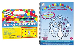 A set of Do-A-Dot Markers with a raised line art book