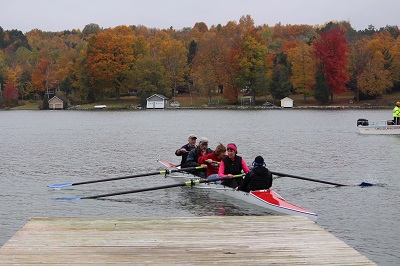 group of Traverse City support group members rowing in VIP ship