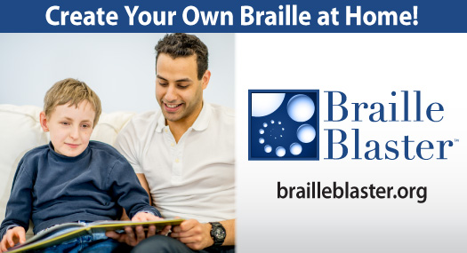 Boy sitting on the couch with his father reading braille with the heading Create Your Own Braille at Home and the Braille Blaster logo and brailleblaster.org URL to the right of the image