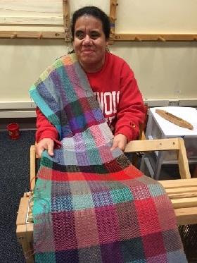 ana cuevas knitting scarf