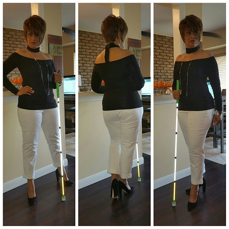 woman modeling 3 different views of self in black top and white pants wearing scarf and black heels
