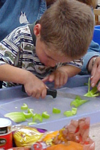 young visually impaired boy cutting celery with a sharp knife