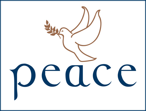 holiday cards from National Braille Press: peace written in dark blue and in braille, as an elegant dove — olive branch in its beak — glides above