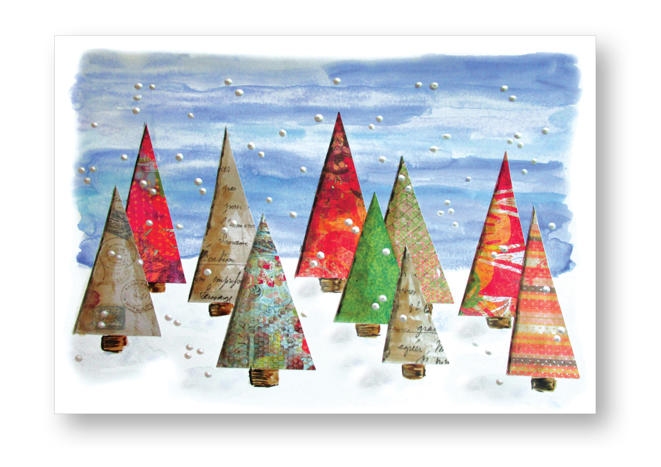 2016 holiday card with watercolor and mixed-media collage of trees and snowflakes