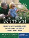 cover of Reach Out and Teach depicting a child wearing sunglasses reaching out to enjoy flowers -- her father kneels behind her