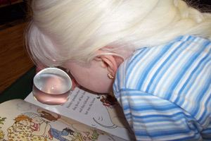 girl using a dome magnifier